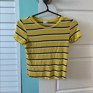 Yellow spring top black and white stripes